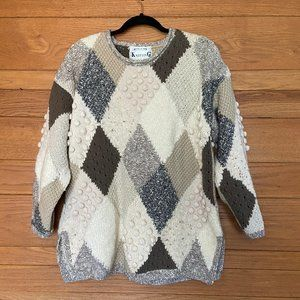 Vintage bobble knitted by hand grandma sweater